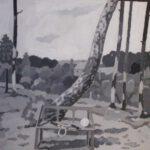 Birkenwald, Acryl, 70 x 50 cm