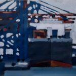 Bild eines Containerkais in Hamburg von Max Holst: Malerei für Öl-und Acryl-Bilder, Gemälde und Porträts, Grafikdesign und handgefertigte Objekte aus der Lüneburger Heide.