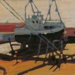 Bild eines auf Land liegenden Fischkutters in Dänemark von Max Holst: Malerei für Öl-und Acryl-Bilder, Gemälde und Porträts, Grafikdesign und handgefertigte Objekte aus der Lüneburger Heide.