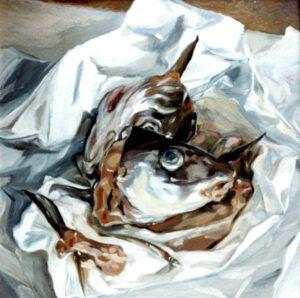 Fischköpfe, Öl, 100 x 100 cm