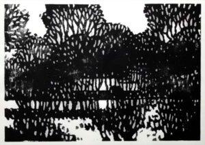 Gehöft, Holzschnitt, 60 x 42 cm