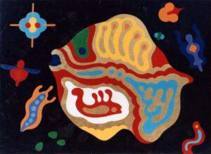 Goldfisch, Lackfarbe, 120 x 90 cm