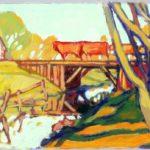 Bild eines Grabens und einer Brücke, über die eine Kuhherde getrieben wird von Max Holst: Malerei für Öl-und Acryl-Bilder, Gemälde und Porträts, Grafikdesign und handgefertigte Objekte aus der Lüneburger Heide.