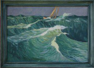 Grüne Wellen, Öl, 67 x 48 cm