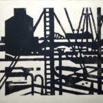 Harburger Hafen, Holzschnitt, 60 x 42 cm