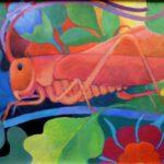 Bild eines Heupferdes von Max Holst: Malerei für Öl-und Acryl-Bilder, Gemälde und Porträts, Grafikdesign und handgefertigte Objekte aus der Lüneburger Heide.