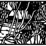Linolschnitt der Holmer Mühle in Holm von Max Holst: Malerei für Öl-und Acryl-Bilder, Gemälde und Porträts, Grafikdesign und handgefertigte Objekte aus der Lüneburger Heide.