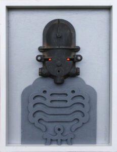 Inka, Verteilerdose und Holz, 50 x 35 cm