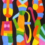 Abstraktes Bild, auf dem bunte Figuren zu sehen sind von Max Holst: Malerei für Öl-und Acryl-Bilder, Gemälde und Porträts, Grafikdesign und handgefertigte Objekte aus der Lüneburger Heide