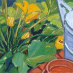 Bild von einem Kürbis in einem Gemüsebeet. Max Holst: Malerei für Öl-und Acryl-Bilder, Gemälde und Porträts, Grafikdesign und handgefertigte Objekte aus der Lüneburger Heide.