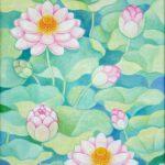 Lotusblüten, Öl, 50 x 70 cm
