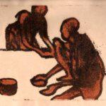 Das Bild von Max Holst zeigt abstrakte Figuren, die auf dem Boden sitzen. Hergestellt von Max Holst: Malerei für Öl-und Acryl-Bilder, Gemälde und Porträts, Grafikdesign und handgefertigte Objekte aus der Lüneburger Heide.