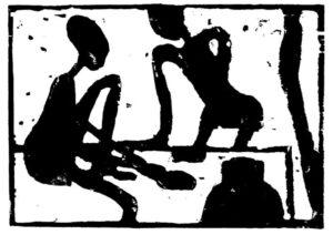 Das Bild von Max Holst zeigt abstrakte Fuguren, die auf dem Boden sitzen. Hergestellt von Max Holst: Malerei für Öl-und Acryl-Bilder, Gemälde und Porträts, Grafikdesign und handgefertigte Objekte aus der Lüneburger Heide.