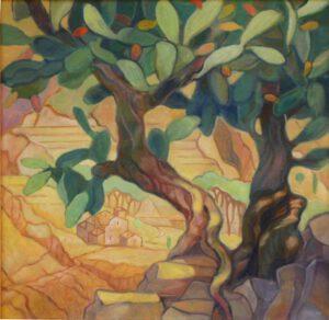 Das Bild von Max Holst zeigt eine bergige Landschaft auf Mallorca. Hergestellt von Max Holst: Malerei für Öl-und Acryl-Bilder, Gemälde und Porträts, Grafikdesign und handgefertigte Objekte aus der Lüneburger Heide.