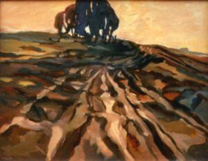 Das Bild von Max Holst zeigt Spuren einer militärischen Übung im Gelände. Hergestellt von Max Holst: Malerei für Öl-und Acryl-Bilder, Gemälde und Porträts, Grafikdesign und handgefertigte Objekte aus der Lüneburger Heide.