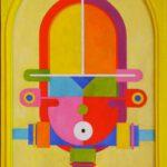 Bild von Max Holst mit einer abstrakten Maske. Hergestellt von Max Holst: Malerei für Öl-und Acryl-Bilder, Gemälde und Porträts, Grafikdesign und handgefertigte Objekte aus der Lüneburger Heide.