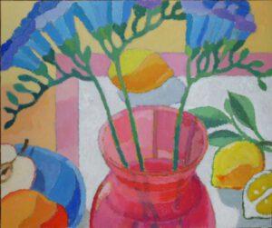 Rote Vase, Acryl, 40 x 30 cm