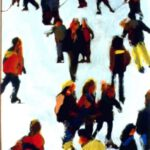 Schlittschuhläufer, Acryl, 50 x 70 cm