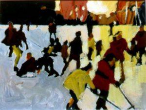 Schlittschuhläufer, Acryl, 60 x 40 cm