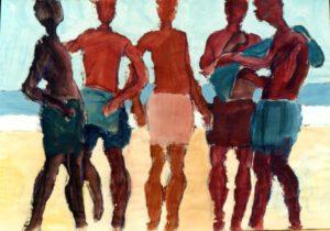 Strandgruppe, Acryl, 100 x 70 cm