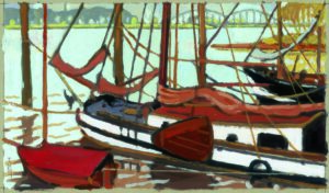 Süderelbe, Acryl, 120 x 90 cm, Auftragsarbeit