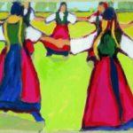 Ein Acrylbild von Max Holst mit einer tanzenden Gesellschaft: Malerei für Öl-und Acryl-Bilder, Gemälde und Porträts, Grafikdesign und handgefertigte Objekte aus der Lüneburger Heide.