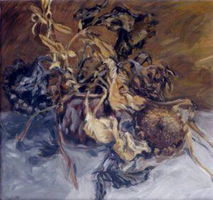 Tonkrug, Öl, 100 x 100 cm