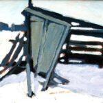 Ein Bild mit einem Unterstand in einer Schneelandschaft von Max Holst: Malerei für Öl-und Acryl-Bilder, Gemälde und Porträts, Grafikdesign und handgefertigte Objekte aus der Lüneburger Heide.