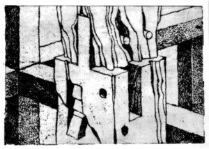 Verzapfung, Radierung, 20 x 15 cm