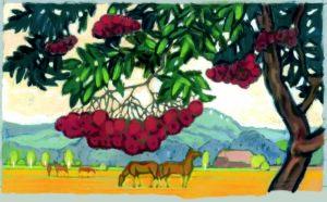 Vogelbeeren, Acryl, 120 x 90 cm, Auftragsarbeit