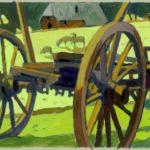 Wagenräder, Acryl, 120 x 90 cm, Auftragsarbeit