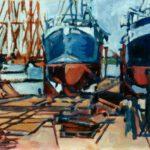 Bild einer Werft in Hamburg von Max Holst: Malerei für Öl-und Acryl-Bilder, Gemälde und Porträts, Grafikdesign und handgefertigte Objekte aus der Lüneburger Heide.