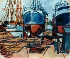 Werft V, Öl, 60 x 50 cm