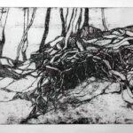 Radierung mit Wurzeln von Max Holst: Malerei für Öl-und Acryl-Bilder, Gemälde und Porträts, Grafikdesign und handgefertigte Objekte aus der Lüneburger Heide.