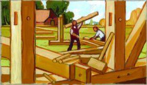 Zimmerleute, Acryl, 120 x 90 cm, Auftragsarbeit