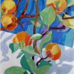Bild von Max Holst mit einem Apfelzweig. Hergestellt von Max Holst: Malerei für Öl-und Acryl-Bilder, Gemälde und Porträts, Grafikdesign und handgefertigte Objekte aus der Lüneburger Heide.