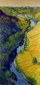 Bild von Max Holst, auf dem ein Fluss dargestellt ist, der durch eine grüne Landschaft fließt. Max Holst: Malerei für Öl-und Acryl-Bilder, Gemälde und Porträts, Grafikdesign und handgefertigte Objekte aus der Lüneburger Heide.