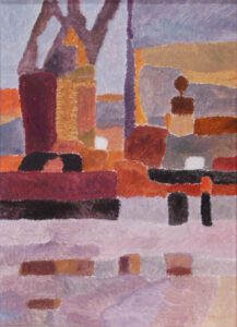 Hafenbild von von Max Holst in einer abstrakten Darstellung. Max Holst: Malerei für Öl-und Acryl-Bilder, Gemälde und Porträts, Grafikdesign und handgefertigte Objekte aus der Lüneburger Heide.