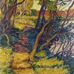 Bild von Max Holst, auf dem ein schmaler Moorweg im Sonnenlicht zu sehen ist. Max Holst: Malerei für Öl-und Acryl-Bilder, Gemälde und Porträts, Grafikdesign und handgefertigte Objekte aus der Lüneburger Heide.